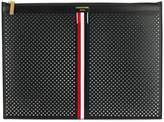 Thom Browne Medium Zipper Document Holder (35X25 Cm) With Red, White And Blue Vertical Stripe In Perforated Pebble Grain & Calf Leather