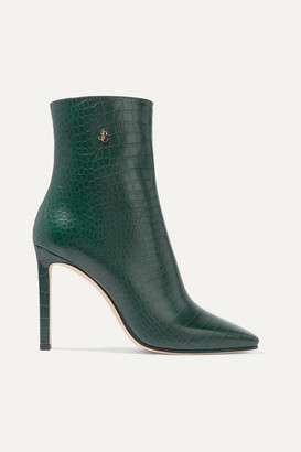 Jimmy Choo Minori 100 Croc-effect Leather Ankle Boots - Dark green