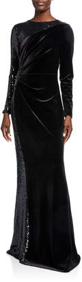 Rickie Freeman For Teri Jon Jewel-Neck Long-Sleeve Velvet Gown w/ Sequined Side