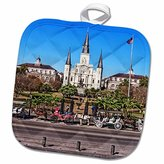 3dRose Boehm Photography Travel - Saint Louis Cathedral in New Orleans French Quarter - 8x8 Potholder (phl_239373_1)