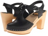 Swedish Hasbeens T-Strap Sky High (Nature) Women's Clog Shoes