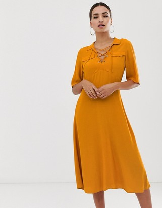 Asos Design DESIGN midi shirt dress with lace up front-Yellow