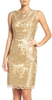 Adrianna Papell Women's Embroidered Illusion Yoke Sheath Dress