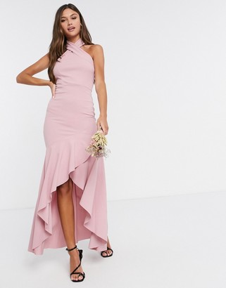 Little Mistress halterneck fishtail bridesmaid dress in light pink