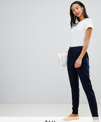Y.A.S Tall tailored trouser with elasticated waist-Navy