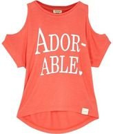 River Island Mini girls orange print cold shoulder t-shirt