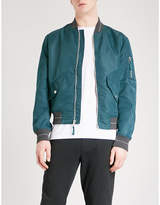 Michael Kors Striped-trim shell bomber jacket