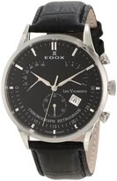 Edox Men's Les Vauberts 41mm Leather Band Steel Case Sapphire Crystal Quartz Watch 01505-3-NIN