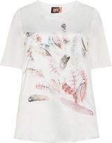 Aprico Plus Size Diamanté and feather print satin t-shirt