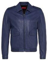 Hugo Boss Lerko Lamb Leather Pilot Jacket M Blue
