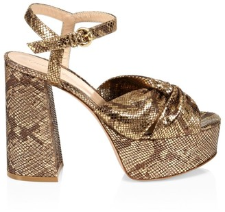 Gianvito Rossi Dallas Snakeskin-Embossed Metallic Leather Plaform Sandals