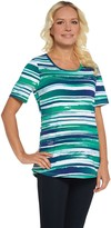 Denim & Co. Active Printed Perfect Jersey Curved Hem Top