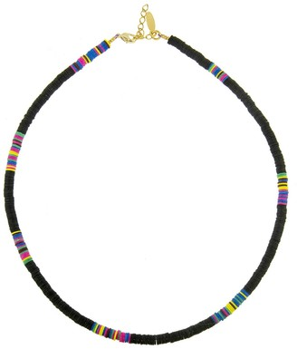 ALLTHEMUST Small Black Heishi Bead Yellow Gold Necklace
