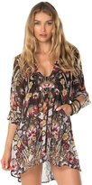 Becca by Rebecca Virtue Becca Women's Havana Peasant Sleeve with Pockets Tunic Cover Up-M/L