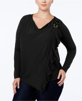 INC International Concepts Plus Size Ruffled Convertible Cardigan, Only at Macy's