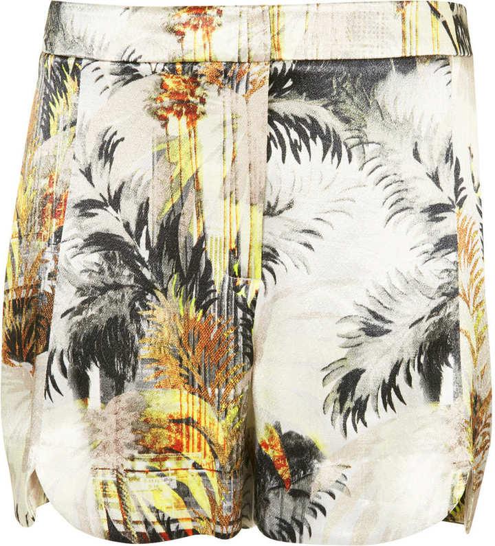 Topshop Tall lux palm satin shorts