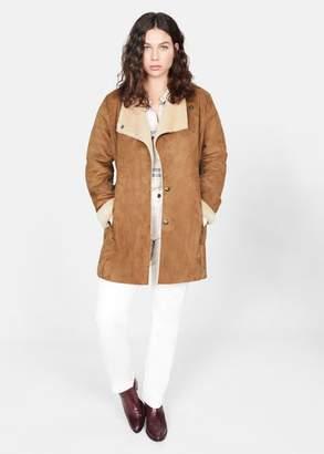 MANGO Violeta BY Faux-fur lining coat brown - XS - Plus sizes