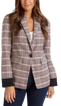 Ella Moss Colorblocked Plaid Blazer