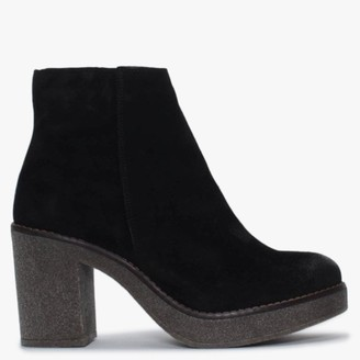 Alba Moda Black Suede Ankle Boots