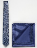 Selected Navy Floral Print Tie and Pocket Square
