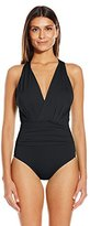 Badgley Mischka Women's Solid Dip-Back Maillot One-Piece Swimsuit