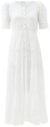 LoveShackFancy Rosita Pintucked Cotton-voile Maxi Dress - White