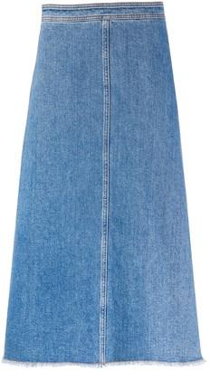 Philosophy di Lorenzo Serafini frayed A-line denim skirt