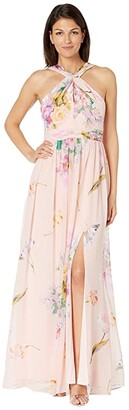 Adrianna Papell Floral Printed Chiffon Gown (Blush Multi) Women's Dress