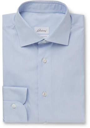 Brioni Light-Blue Slim-Fit Striped Cotton Shirt