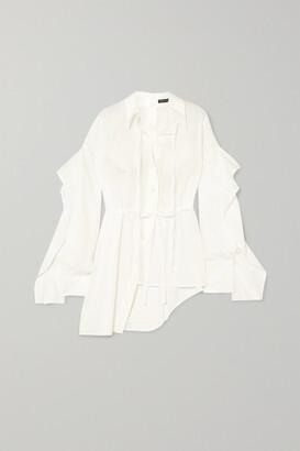 Ann Demeulemeester Asymmetric Paneled Cotton-poplin Shirt - White