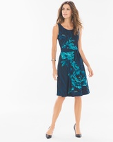 Soma Intimates Floral Belted Sleeveless Fit and Flare Short Dress Lyric Floral Placement Navy