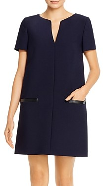 Paule Ka Leather Trimmed Twill Shift Dress