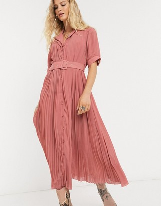 Object pleated midi dress with self belt and puff sleeve in pink