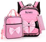 Tibes Large Canvas Cute Backpack Lightweight Girls Backpack Bowtie Backpack for Children