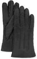 Italguanto Lamb Shearling Fur-Lined Gloves, Black