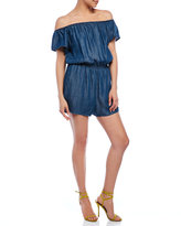 RD Style Short Sleeve Off-The-Shoulder Chambray Romper