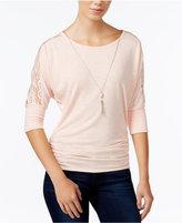 Amy Byer Juniors' Lace-Trim Necklace Top