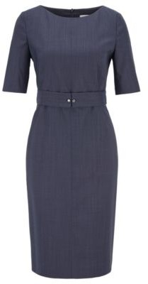 HUGO BOSS Wool Blend Checked Dress With Belt Detail - Patterned