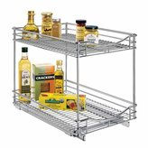 Lynk Professional Roll Out Double Shelf - Pull Out Two Tier Sliding Under Cabinet Organizer - 14 inch wide x 18 inch deep