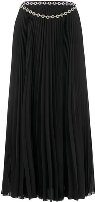 Christopher Kane Long Crystal-Embellished Pleated Skirt