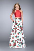 La Femme Strappy Back Halter Top and Floral Printed Skirt Evening Dress 24692