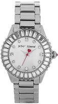 Betsey Johnson Ladies Silvertone Bracelet Watch with Crystals