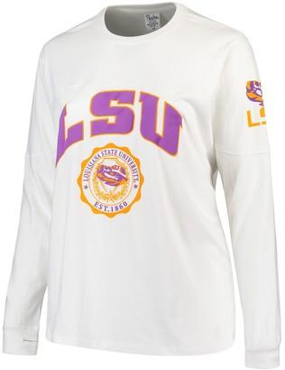 Women's White LSU Tigers Plus Size Edith Long Sleeve T-Shirt