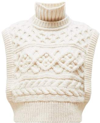 Isabel Marant Minea Tiered Funnel Neck Cabled Merino Sweater - Womens - Ivory