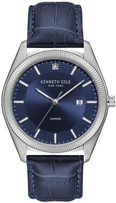 Kenneth Cole New York Men Dark Blue Genuine Leather Strap Watch, 41mm