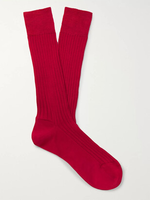 Charvet Ribbed Cotton Socks - Men - Red