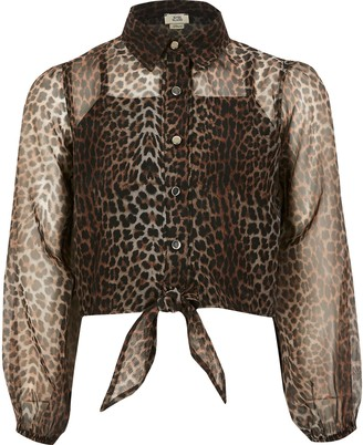 River Island Girls Brown leopard print organza shirt