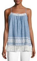 Soft Joie Agneza Embroidered Tassel-Hem Sleeveless Top, Blue