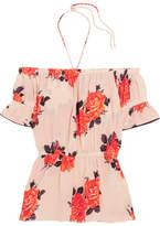 GANNI - Off-the-shoulder Floral-print Silk Crepe De Chine Top - Pastel pink