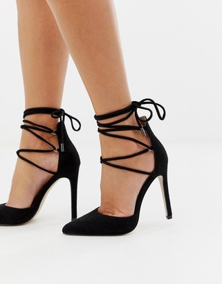 Public Desire Classy black tie up heeled shoes